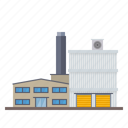 building, chimney, factory, industrial, industry, warehouse icon