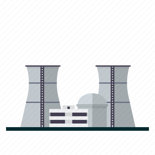 building, electricity, energy, industrial, industry, nuclear power station, power plant icon