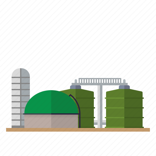 agriculture, bio gas, biomass, building, industry, power plant, tanks icon