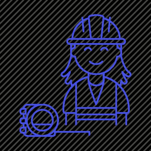 1, builder, contractor, driller, engineer, equipment, factory, female, flexometer, mechanic, worker icon