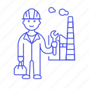 1, builder, engineer, factory, industry, male, plant, production, worker icon