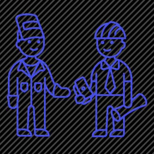 1, builder, deal, engineer, factory, foreman, male, payment, supervisor, welder, worker icon