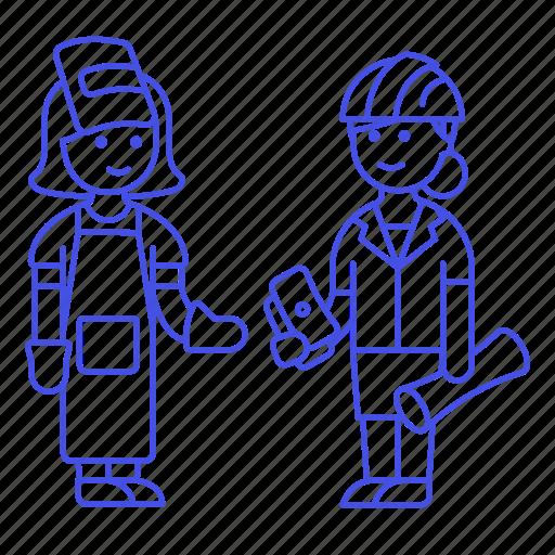 2, builder, deal, engineer, factory, female, foreman, payment, supervisor, welder, worker icon