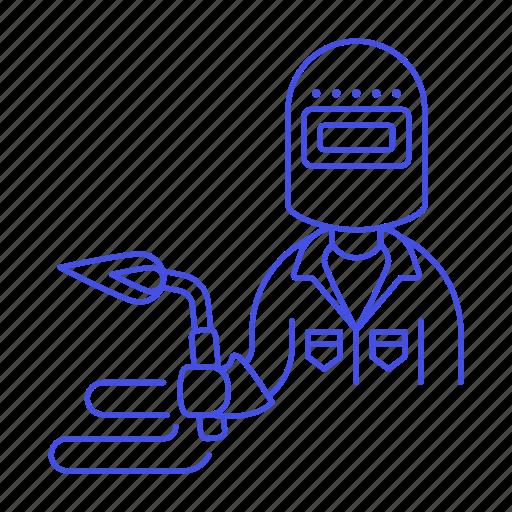 1, blowtorch, builder, factory, machine, man, welder, welding, worker icon