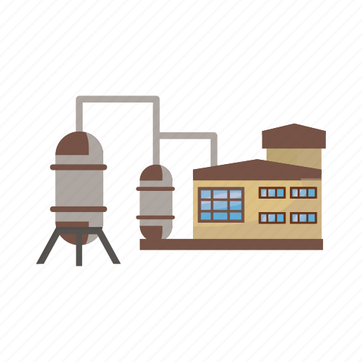 cartoon, fuel, great, industry, pipe, plant, refinery icon
