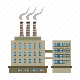 cartoon, chemical, industry, large, pipe, plant, refinery icon