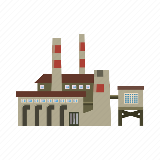 big, cartoon, factory, industry, pipe, pipes, refinery icon