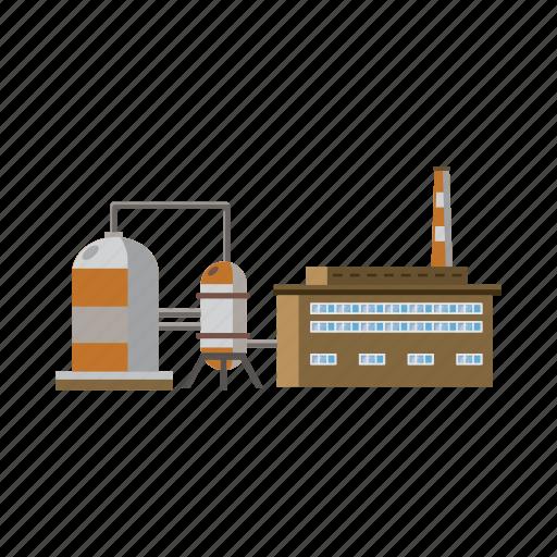 cartoon, industry, liquid, plant, storage, tanks, tube icon