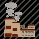 cartoon, chimneys, industry, pipe, plant, produces, smoke