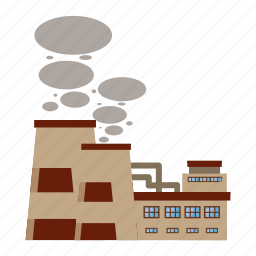 cartoon, chimneys, industry, pipe, plant, produces, smoke icon