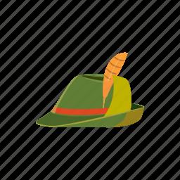 cartoon, clothing, feather, german, hat, oktoberfest, vintage icon