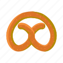bread, cartoon, food, oktoberfest, pretzel, salt, snack icon