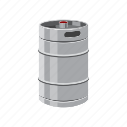 barrel, beer, cartoon, keg, metal, oktoberfest, steel icon