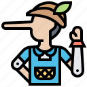 tale, pinnochio, toy, puppet, marionette icon
