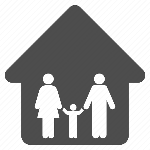 building, family, home, house, living room, people, residential icon