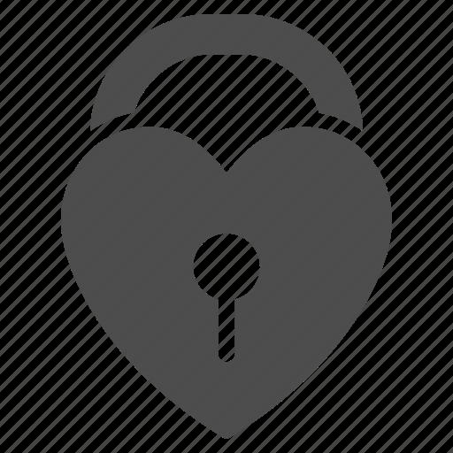 close, heart, lock, love, safety, valentine, wedding icon
