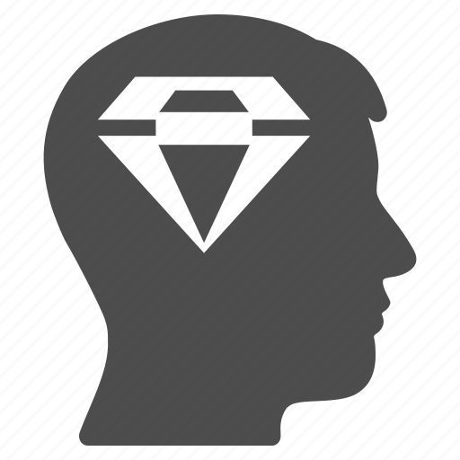 crystal, diamond, gift thinking, head, human, jewelry, person icon