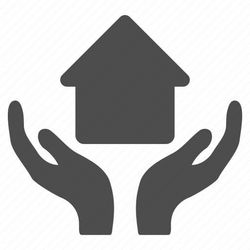 care hands, home, house, insurance, property, protection, real estate icon