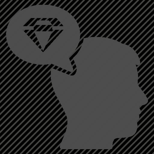 diamond gift, gem, jewel, jewelry, person, think, thinking man icon