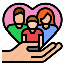 care, family, heart icon