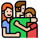 family, happy, hug, together icon