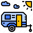 camping, trailer, transport icon