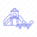 area, family, park, play, playground, recreation, seesaw, slide icon