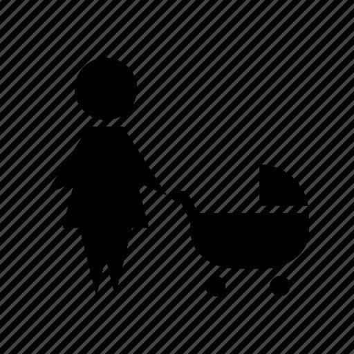 babysitter, cart, family, mother, nanny, parents, pram icon