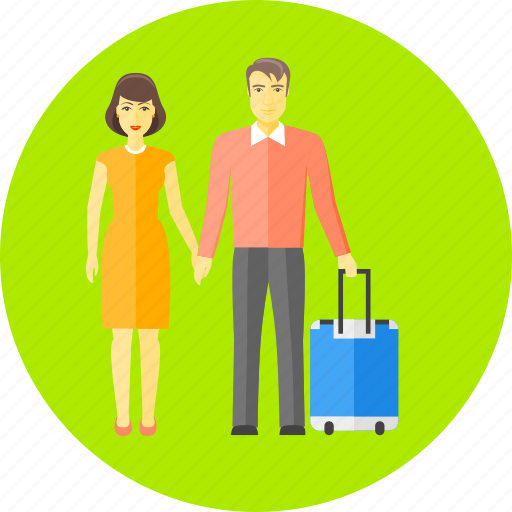 bag, family, holiday, luggage, travel, vacation, wife and husband icon