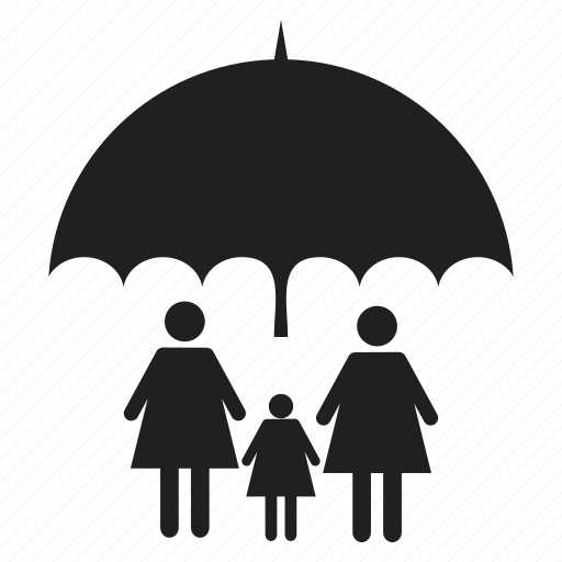 child, family, father, home, mother, protection, umbrella icon