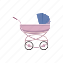 baby, carriage, cartoon, child, kid, pram, wheel icon