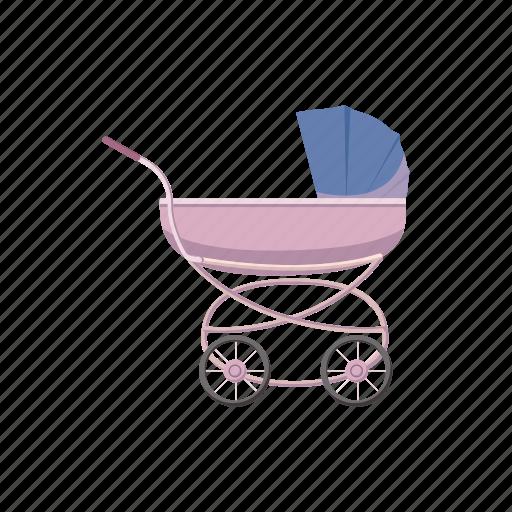 baby, carriage, cartoon, child, kid, pram, wheel icon