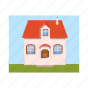 architecture, cartoon, estate, family, home, house, residential icon