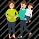 family, parenthood, pregnant couple, pregnant woman, son