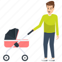 baby stroller, father care, father with baby pram, fatherhood, parenthood