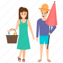 beach holidays, beach vacations, couple on beach, couple on holidays, family trip icon