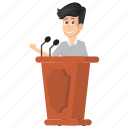 businessman speech, entrepreneurship presentation, executive speech, public speaker., verbalization icon