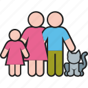 cat, daughter, family, father, mother, parents, pet icon