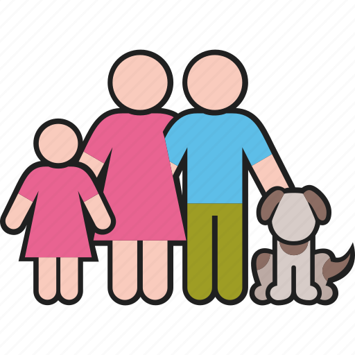 daughter, dog, family, father, mother, parents, pet icon