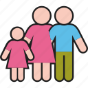 daughter, family, father, girl, mother, parents icon