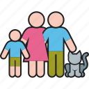 cat, family, father, mother, parents, pet, son icon