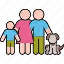 dog, family, father, mother, parents, pet, son icon