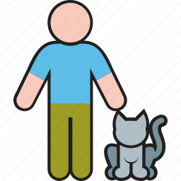 animal, cat, kitty, male, man, person, pet icon