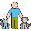 animal, animals, cat, dog, male, man, pet icon