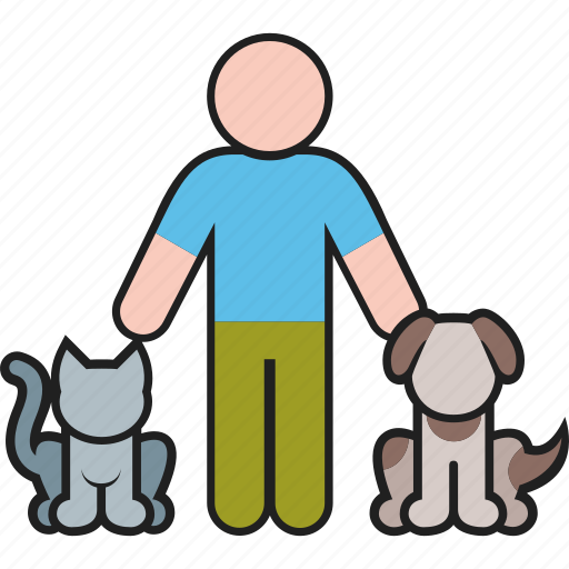animal, animals, cat, dog, male, man, pet icon