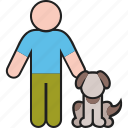 animal, dog, male, man, pet, puppy
