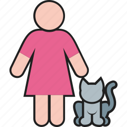 animal, cat, female, kitty, lady, pet, woman icon