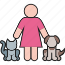 animal, cat, dog, female, pet, puppy, woman icon