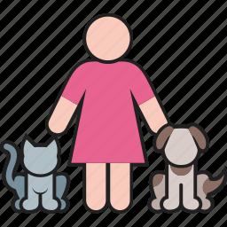 animal, cat, dog, female, pet, puppy, woman icon