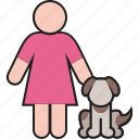 animal, dog, female, girl, pet, puppy, woman icon